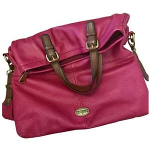 Fossil Leather hot pink foldover Crossbody bag